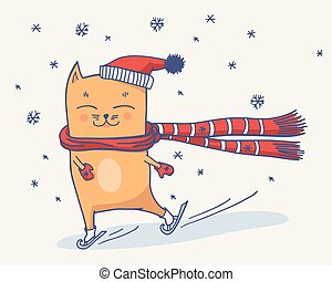 Cute winter cat