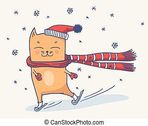 Cute winter cat