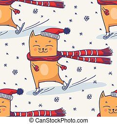 Cute winter cat seamless pattern