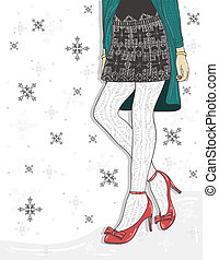 Cute winter fashion background.