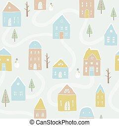 Cute winter houses pattern