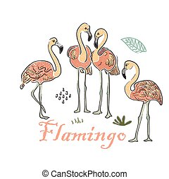 Cute Winter Icon with Flamingo. Hand Drawn Scandinavian Style. Vector Illustration