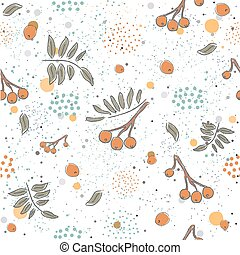 Cute Winter Pattern with Rowan Berries on beautiful dotted background. Hand Drawn Delicate Design. Scandinavian Style. For cards, templates, gift paper, prints, decorations, etc. Vector Illustration
