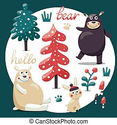 Cute winter set made with bears, rabbit, mushroom, bushes, plants, snow, trees