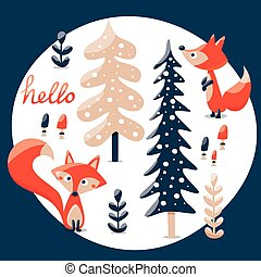 Cute winter set made with fox, rabbit, mushroom, bushes, plants, snow, trees