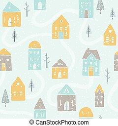Cute winter snowfall houses pattern