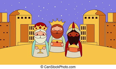 cute wise men manger characters animation - cute wise men...