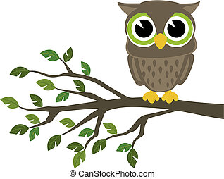cute wise owl cartoon - little cute owl sitting on a branch...