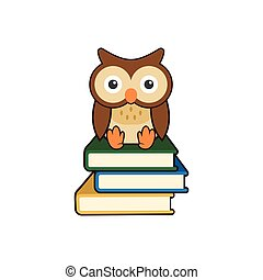 Cute Wise Owl Sitting on Books