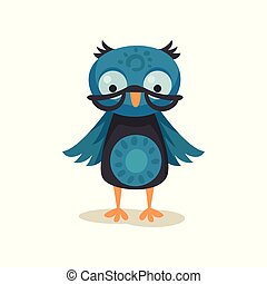 Cute wise owlet wearing glasses, sweet owl bird cartoon character vector Illustration on a white background
