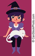 Cute Witch and Cat