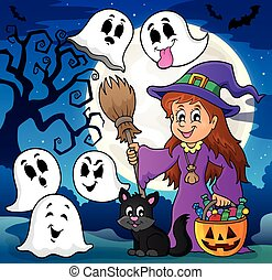 Cute witch and cat with ghosts 2