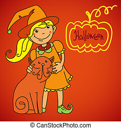 Cute witch. Banner for your design
