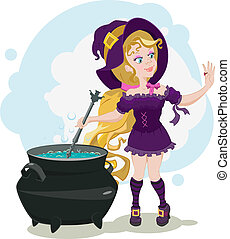 Cute witch cooks potion and admires
