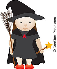 cute witch - cute girl dressed up as a halloween witch...
