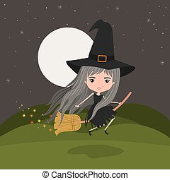 cute witch fantastic character flying with broom in mountain night landscape background