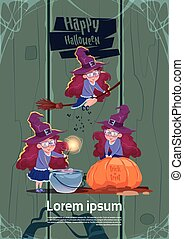 Cute Witch Fly On Broom Stick, Cook Potion In Pot, Happy...