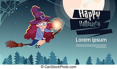 Cute Witch Fly On Broom Stick, Happy Halloween Banner Party...
