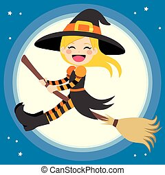 Cute Witch Flying With Broom - Cute little blonde girl witch...