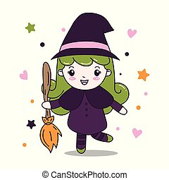 Cute Witch Girl with Fly Broom illustration