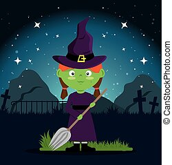 cute witch halloween cartoon