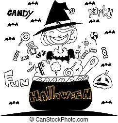 Cute Witch Halloween with hand draw