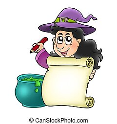Cute witch holding scroll