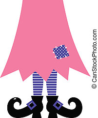 Cute Witch Legs isolated on white - pink and purple