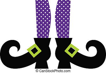 Cute Witch legs isolated on white - Purple dotted witch...