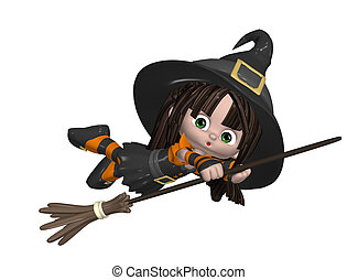 Cute Witch On A Broomstick