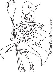 cute witch outlined