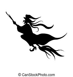 Cute Witch Riding A Broom
