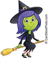 Cute Witch Riding Broom