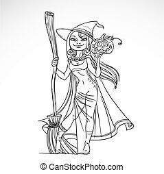 Cute witch with a broom and pumpkin black and white outline...