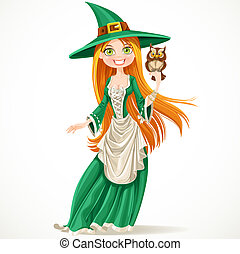 Cute witch with a familiar owlet isolated on white background