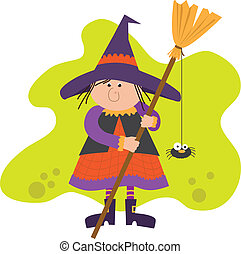 Cute Witch With Broom