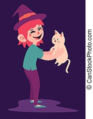 Cute Witch with Cat