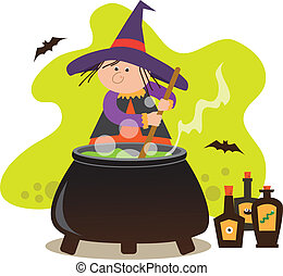 Cute Witch With Cauldron