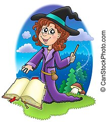 Cute witch with wand and book - color illustration