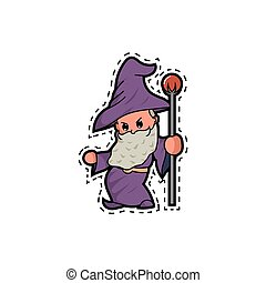 Cute wizard and the magic staff stickers