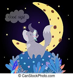 Cute Wolf Howling at Moon. Funny Baby Wolfling in Flower Wreath with Glowing Star on Nose Stand on Field with Plants under Starry Sky Howl Good Night, Nighttime Wishes Cartoon Flat Vector Illustration