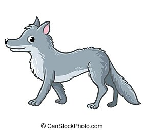 Cute wolf on a white background.