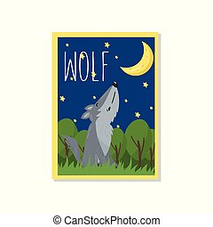 Cute wolf vector illustration with woodland animal, design element for banner, flyer, placard, greeting card, cartoon style