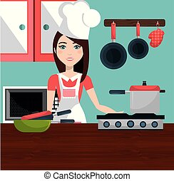 cute woman cooking in the kitchen