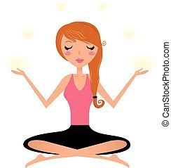 Cute woman doing yoga asana isolated on white
