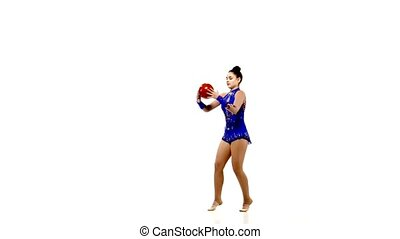 Cute woman gymnast o studio