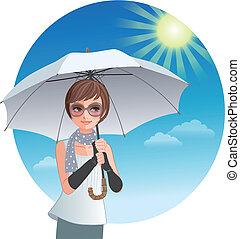 Cute woman holding sunshade umbrella under strong...