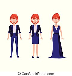 Cute woman in different style.