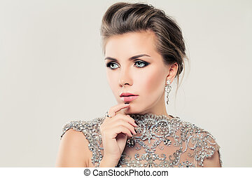 Cute Woman. Lace, Strass and Jewelry