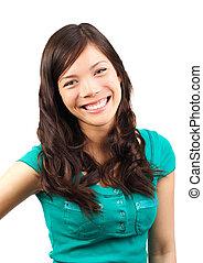 Cute woman laughing